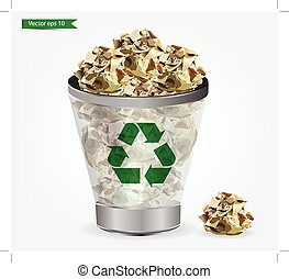 Trashcan paper recycle, Vector illustration