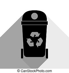 Trashcan sign illustration. Vector. Black icon with two flat gray shadows on white background.
