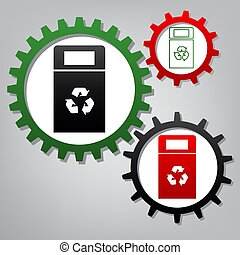Trashcan sign illustration. Vector. Three connected gears with i