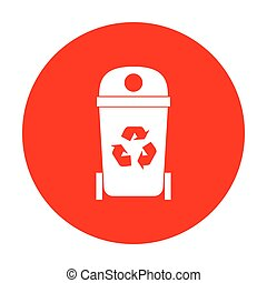 Trashcan sign illustration. White icon on red circle.