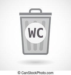 trashcan, texto, wc, aislado