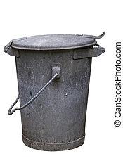 trashcan, vieux, métal