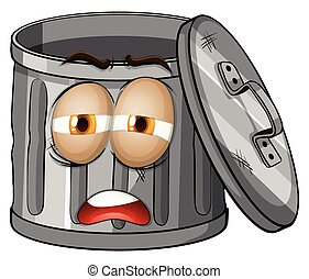 Trashcan with sad face illustration
