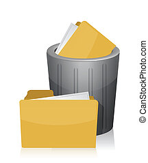 Trashed Folder illustration design over a white background