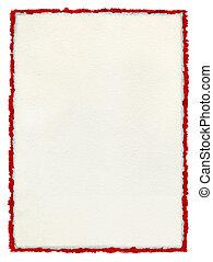 trasig, papper, deckled, röd, border.
