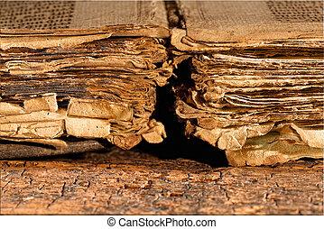 trasig, sidor, av, antikvitet, bok