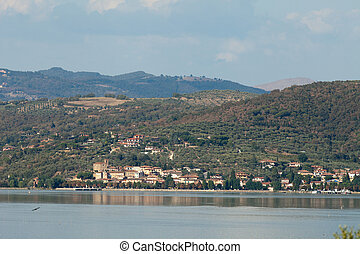 Trasimeno Lake at summer . Umbria, Italy