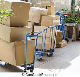trasmettere, distribuire, pacchetti, inscatolato, beni