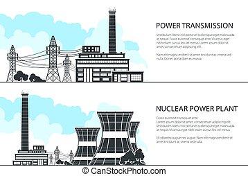 trasmissione, bandiere, set, energia elettrica