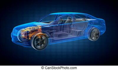 trasparente, automobile, concetto
