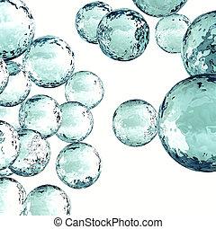 trasparente, bolle, con, riflessioni, su, uno, sfondo bianco