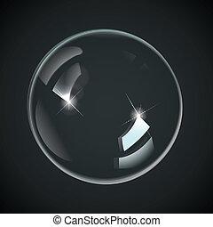 trasparente, bolle, su, nero