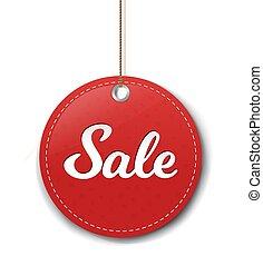 trasparente, carta, vendita, etichetta, corda, sfondo rosso