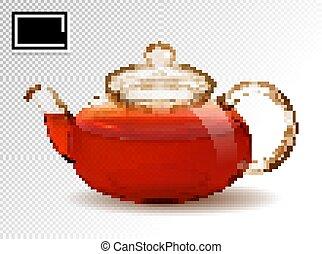 trasparente, tè, vettore, 3d, realistico, fondo., vetro, ...