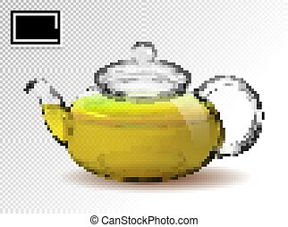 trasparente, tè, vettore, 3d, verde, realistico, fondo., ...