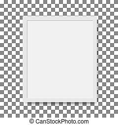 trasparente, template., grafico, immagine, fondo., vuoto, foto, stile, quadrato, parete, isolato, mockup, vettore, front., cornice, realistico, 3d, appendere, illustrazione, bianco