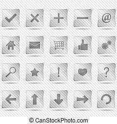 trasparente, vetro, icone
