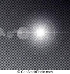 trasparente, vettore, luce sole, con, bokeh, isolato, su, scuro, fondo., baluginante, stella, su, magia, ring., sole