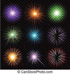 trasparenza, isolato, sfondo nero, fireworks