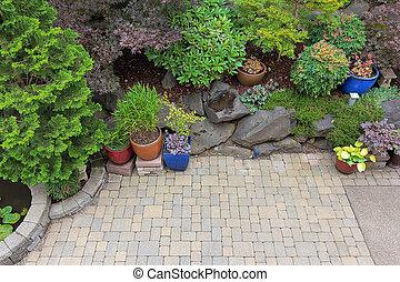 traspatio, ajardinar, patio, perspectiva general