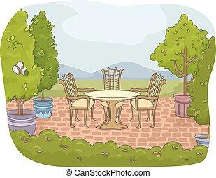 traspatio, jardín, patio