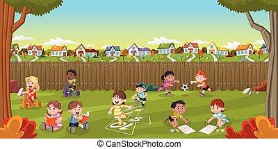 traspatio, suburbio, vecindad, casa, caricatura, colorido, ...