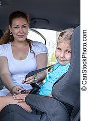 trasportation, cacasian, család autó, seat., jármű,...