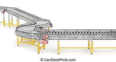 trasportatore, illustrazione, fondo., linea, bianco, 3d