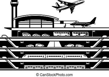 trasporto, aeroporto, mozzo