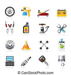 trasporto, e, riparazione automobile, icone