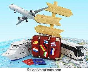 trasporto, e, viaggiare, concetto