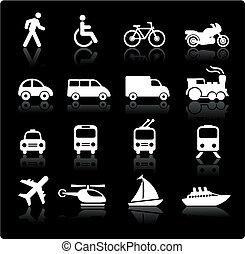 trasporto, elementi, disegno, icone