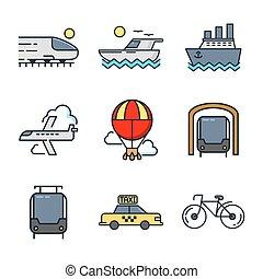 trasporto, icona, set, colorare