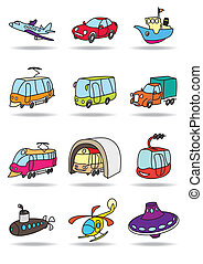 trasporto, icona, set