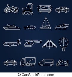trasporto, icone, contorno, set