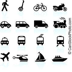 trasporto, icone, disegni elementi