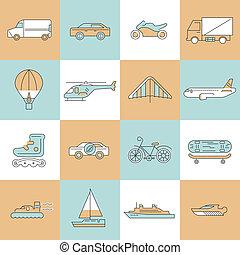 trasporto, icone, linea fissa, set