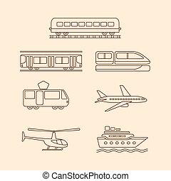 trasporto, icone, treno, tram, sottopassaggio, aeroplano,...
