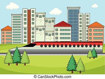 trasporto, in, moderno, città