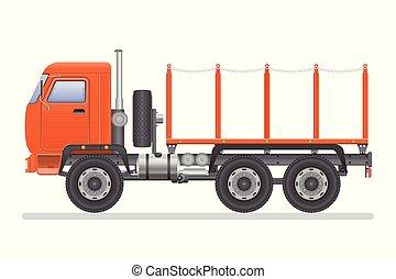 trasporto, isolato, illustrazione, fondo., vettore, camion, vehicle., bianco