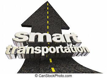 trasporto, mobilità, su, illustrazione, strada, freccia, far male, 3d