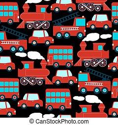 trasporto, modello, rosso, bambini, seamless, carino