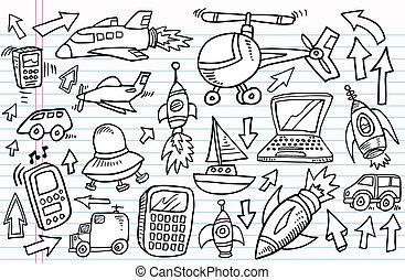 trasporto, scarabocchiare, set, schizzo