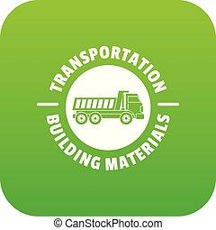 trasporto, servizio, icona, verde, vettore