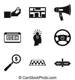 trasporto, servizio, icone, set, semplice, stile
