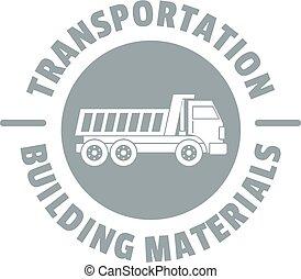 trasporto, servizio, logotipo, semplice, grigio, stile