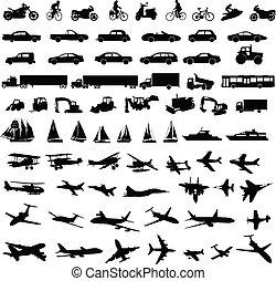trasporto, silhouette