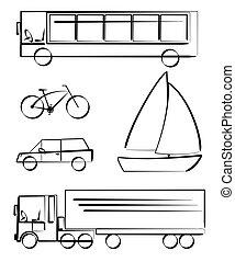 trasporto, veicoli