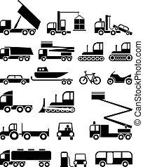 trasporto, vettore, -, icone