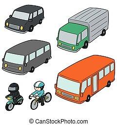 trasporto, vettore, set